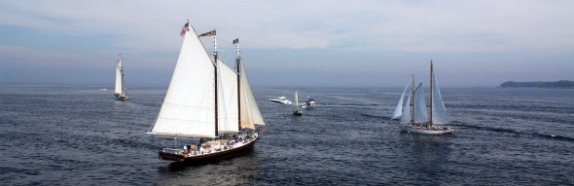 Schooner J&E Riggin sailing out into Penobscot Bay by Rocky Coast Photography