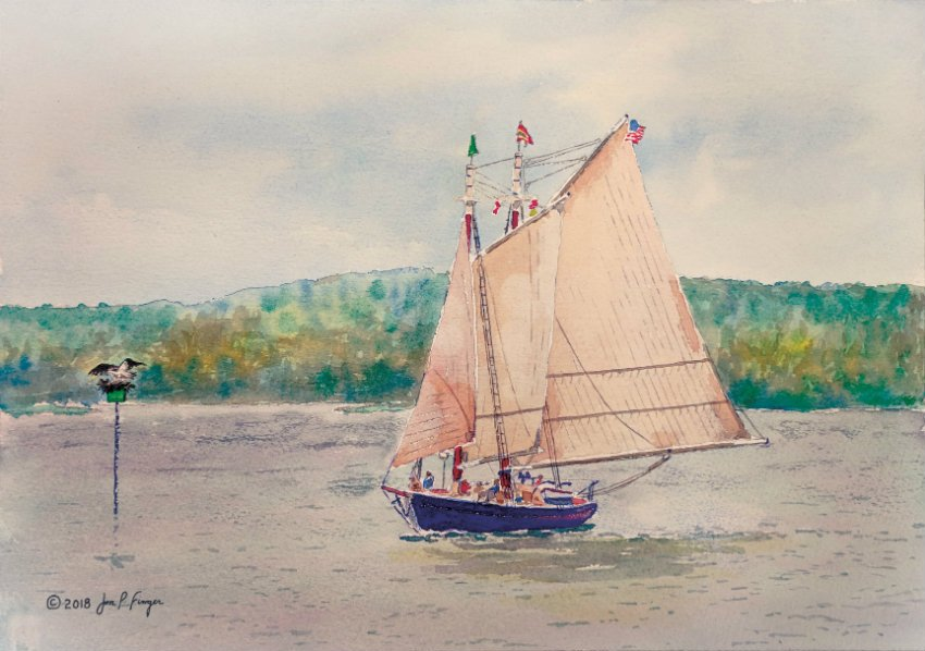 Iron Point - Watercolor artwork by Capt J. P. Finger