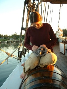 Knitting On Deck by Margaret Radcliffe