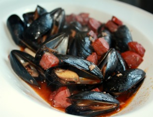 Mussels Chorizo Red Wine by Elizabeth Poisson
