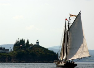 Sailing toward Owls Head Lighthouse